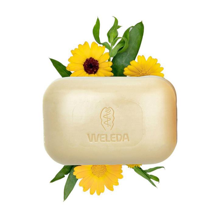 Косметика для новорожденных Weleda Растительное мыло с календулой и лекарственными травами 100 г