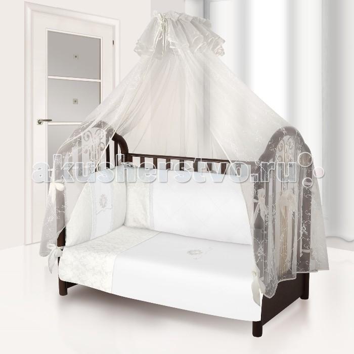 Комплект в кроватку Esspero Damask (6 предметов)Damask (6 предметов)Комплект в кроватку Esspero Damask (6 предметов) обеспечит малышу здоровый и комфортный сон в кроватке.   Наполнитель текстильных элементов - нежный холлофайбер. Материал не теряет форму в процессе эксплуатации, в нём не заводятся пылевые клещи. Внешняя обивка - натуральный хлопок. Комплект выполнен в аристократических расцветках, украшен стильными элементами декора.  В комплект входят: наволочка - 40 х 60 см  пододеяльник - 110 х 140 см простынка  - 120 х 60 и 125 х 65 см. съемный бортик подушка - 40 х 60 см одеяло - 110 х 140 см<br>