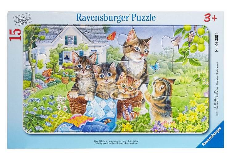 Пазлы Ravensburger Пазл Ласковые котята 15 элементов пазлы ravensburger пазл коровы на лугу 15 элементов