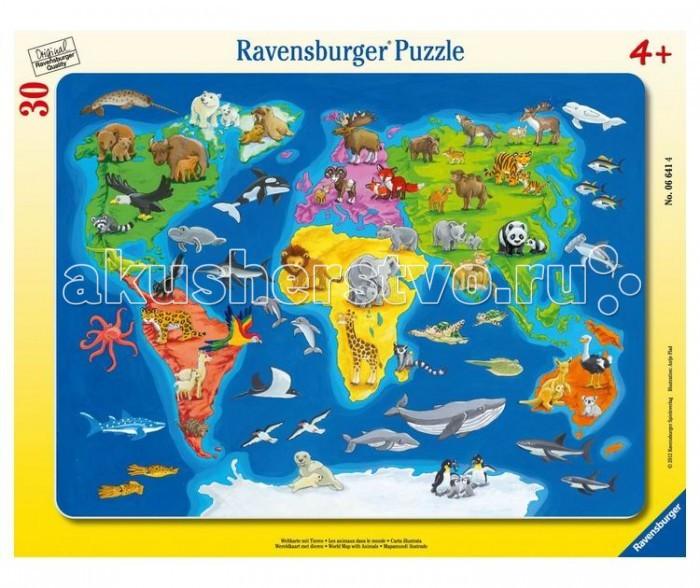 Пазлы Ravensburger Пазл Карта мира с животными 30 элементов ravensburger историческая карта пазл 5000 элементов
