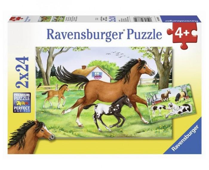Пазлы Ravensburger Пазл Мир лошадей 2х24 элементов