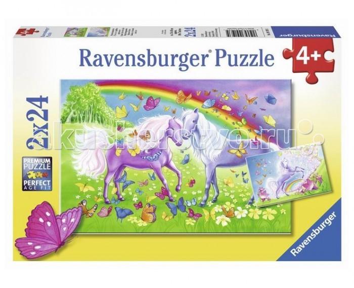 Пазлы Ravensburger Пазл Радужные лошади 2х24 элементов