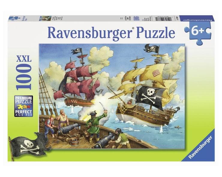 Пазлы Ravensburger Пазл Битва пиратов 100 элементов пазлы origami пазл дм зайчик и волчонок 25 элементов