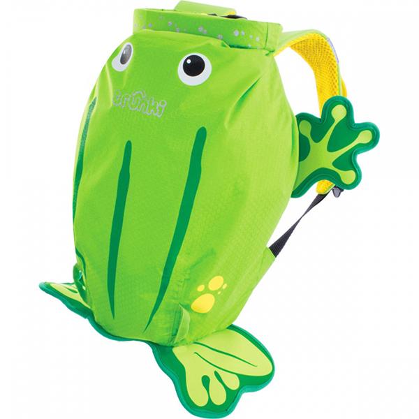 Trunki Рюкзак Лягушка PaddlePakРюкзак Лягушка PaddlePakРюкзак Лягушка PaddlePak Trunki  Отличное решение для отдыха. Ребенок может взять все необходимое с собой в поездку в этом рюкзачке.  Подойдет для занятий спортом и плаванием.  Материал водонепроницаемый, поэтому вы можете быть спокойны за ребенка. Имеет широкую горловину для удобства складывания вещей.  Внутри вместительный карман.  Сделан в форме осьминожки, у которого на плавнике есть небольшой карман на молнии.  Размеры рюкзака: 49 х 41 х 20 см  Вес 0,17 кг<br>
