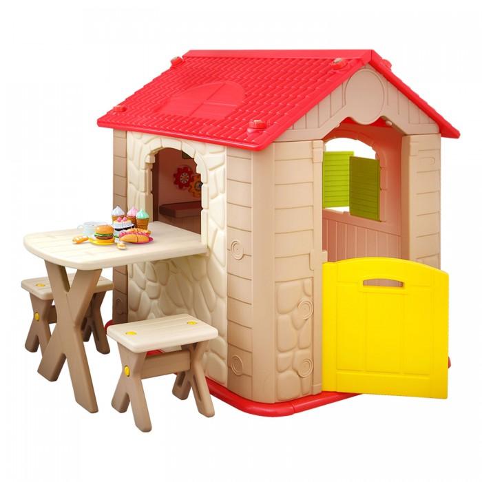Haenim Toy Мой первый игровой домикМой первый игровой домикGona Toys Мой первый игровой домик предназначен для установки на уличной детской площадке, на берегу озера, даче или в квартире.  Милый домик с черепичной крышей прекрасно подойдет для веселых игр детей разного возраста как в помещении, так и на улице. Кроха сможет почувствовать себя полноценными хозяином своего красивого жилища и с удовольствием будет проводить время на свежем воздухе, придумывая увлекательные сюжеты для игр в рамках собственного пространства.  Домик имеет максимально продуманную устойчивую конструкцию, обеспечивающую безопасность во время активных игр. Домик как уменьшенная копия настоящего: он имеет дверь, открывающиеся ставни, чердачные окошки, черепичную крышу, стол и два стула. Все углы комплекса имеют безопасную скругленную форму. Оригинальное яркое оформление домика непременно порадует детей. Домик можно без труда собрать и разобрать, благодаря чему ее удобно хранить в зимнее время года..  Комплектация:  домик, стол, две табуретки.<br>