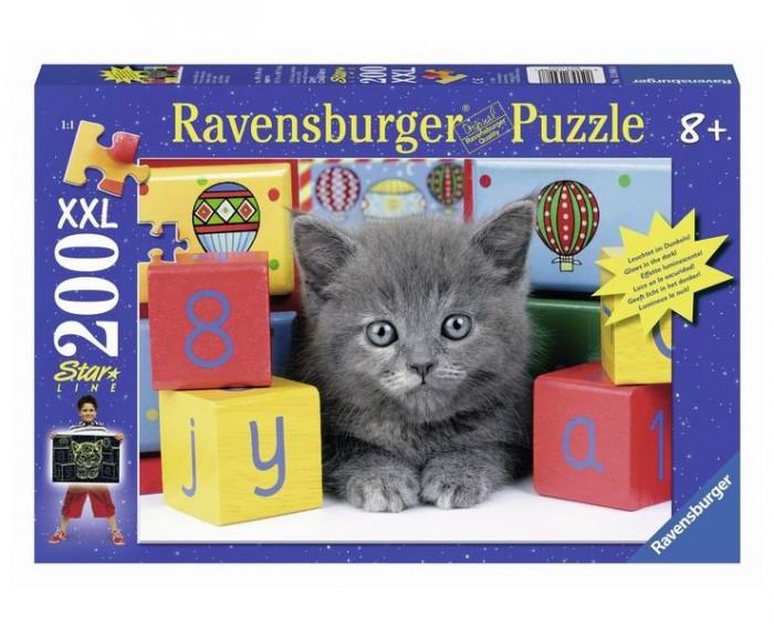 Пазлы Ravensburger Пазл светящийся Котенок с кубиками 200 шт пазл 200 котенок 17154