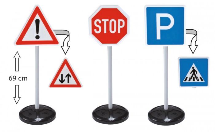 BIG Игровой набор Дорожные знаки 69 см 3 шт.Игровой набор Дорожные знаки 69 см 3 шт.Набор из трех дорожных знаков BIG поможет ребенку, изучающему правила дорожного движения.   Если ваш малыш катается на машинке-каталке, на велосипеде или на самокате, то эти большие и информативные знаки будут не только декорацией для игры, но и основанием для того, чтобы лучше запомнить и выучить значение знаков.   Знаки ставятся на устойчивую подставку, их высота от пола составляет целых 69 см.   Можно перевернуть знак, чтобы использовать его другое значение.   Игрушка изготовлена из прочного и безопасного качества, в наборе 3 двусторонних знака.  Размер знака: 27 х 12 х 69 см.<br>