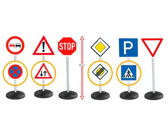 BIG Игровой набор Дорожные знаки 69 см 6 шт.Игровой набор Дорожные знаки 69 см 6 шт.Набор из шести дорожных знаков BIG поможет ребенку, изучающему правила дорожного движения.   Если ваш малыш катается на машинке-каталке, на велосипеде или на самокате, то эти большие и информативные знаки будут не только декорацией для игры, но и основанием для того, чтобы лучше запомнить и выучить значение знаков.   Знаки ставятся на устойчивую подставку, их высота от пола составляет целых 69 см.   Можно перевернуть знак, чтобы использовать его другое значение.   Игрушка изготовлена из прочного и безопасного качества, в наборе 6 двусторонних знаков.  Размер знака: 27 х 12 х 69 см.<br>