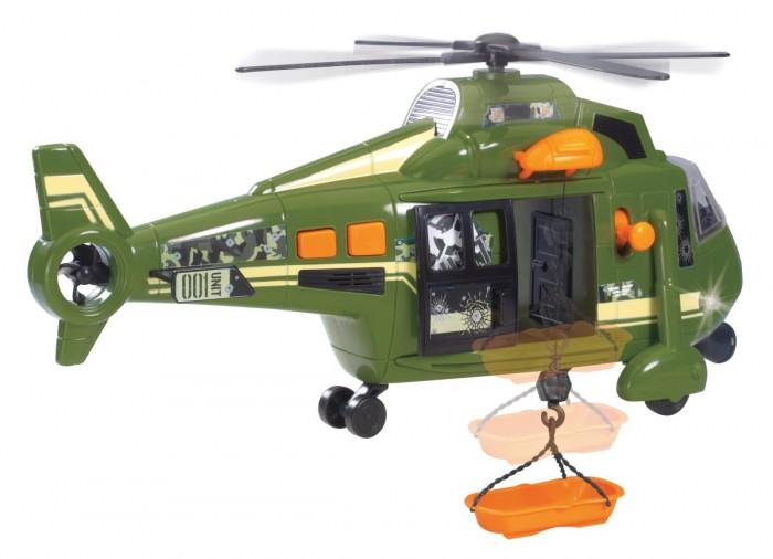 Dickie Вертолет военный 41 смВертолет военный 41 смФункциональный военный вертолет Воздушных сил оснащен открывающимися дверями, механической лебедкой и люлькой для спасательных работ.   Имеет звуковые и световые предупредительные сигналы.   Работает от 3 х АА батареек, идут в комплекте.<br>