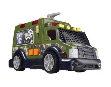 Dickie Военный автомобиль 33 смВоенный автомобиль 33 смИгрушечный военный бронированный грузовик, у которого в арсенале есть водяное оружие, его можно привести в действие с помощью механической помпы.   В самом броневике есть резервуар для воды, который находится в багажном отсеке с открывающимися дверьми, и конечно же такая машина не может быть без звука и света!   Супер техника для супер солдата!  Для работы необходимы батарейки 2хАА, которые входят в комплект.<br>