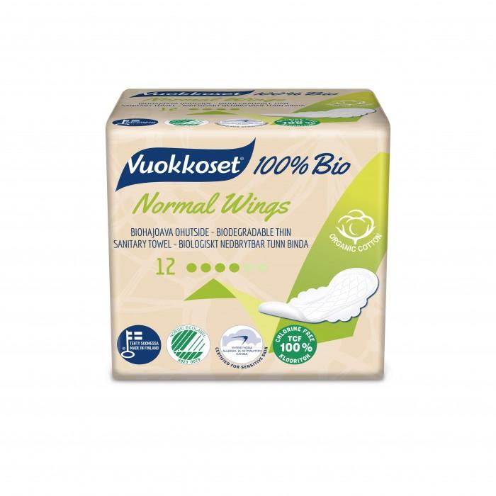 Гигиена для мамы Vuokkoset Женские гигиенические прокладки 100% Bio Normal 12 шт. авент прокладки женские гигиенические для бюстгальтера дневные 30