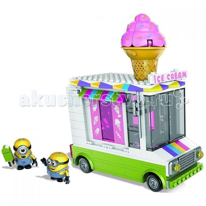 Конструктор Mega Bloks Миньоны: фургончик с мороженымМиньоны: фургончик с мороженымMega Blocks Набор Миньоны: фургончик с мороженым будет замечательным подарком для каждого ребенка! В этот раз забавные Миньоны решили полакомиться вкусным мороженым и купить его в ярком фургончике на колесиках. Но они даже не подразумевают, что внутри этого транспортного средства таится опасность в виде огромного рожка, который неожиданно впрыгивает наружу и ловит героя.  Особенности: Дети сразу же обратят внимание на эти яркие фигурки, так как они напомнят им главных героев популярного мультфильма Гадкий я В комплекте с персонажами также представлены детали для сборки фургона с мороженым, который станет декорациями для весёлой игры Получившееся транспортное средство оснащено вращающимися колесиками, а на его крыше закреплён огромный сахарный рожок Но это аппетитное лакомство является ловушкой для Миньонов, которая неожиданно выпрыгивает и закрывает героев внутри У фигурок подвижные части тела, поэтому их позу можно менять, а в ручки вставлять игровые аксессуары в виде эскимо из комплекта В процессе игры с любимыми героями дети улучшат мелкую моторику рук, а также проявят фантазию, придумывая сюжет развлечения Фигурка и аксессуары выполнены из сертифицированного пластика, который отличается повышенной прочностью и окрашен стойкими, безопасными красителями.<br>