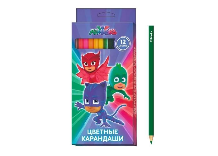 Карандаши, восковые мелки, пастель Герои в масках (PJ Masks) Карандаши цветные 12 цветов карандаши цветные двухсторонние 6шт 12цв герои в масках