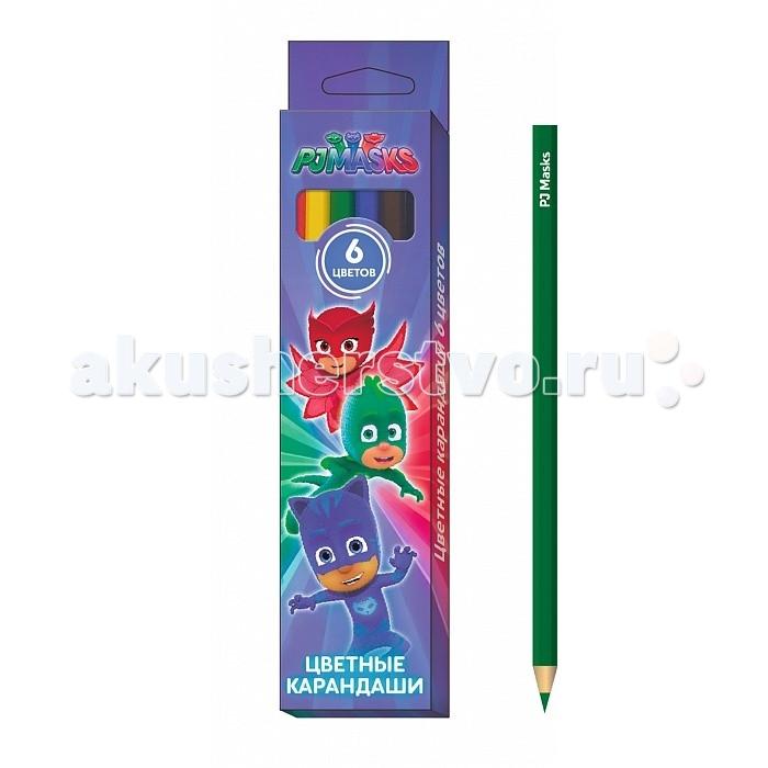 Карандаши, восковые мелки, пастель Герои в масках (PJ Masks) Карандаши цветные 6 цветов карандаши цветные двухсторонние 6шт 12цв герои в масках