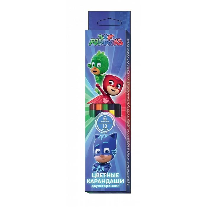 Карандаши, восковые мелки, пастель Герои в масках (PJ Masks) Карандаши цветные: двухсторонние 6 шт./12 цветов карандаши цветные двухсторонние 6шт 12цв герои в масках