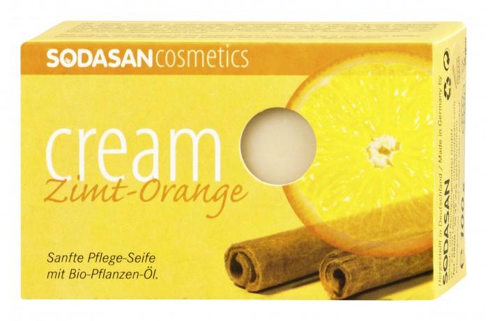 цены Косметика для мамы Sodasan Мыло-крем туалетное твердое глицериновое Корица-апельсин 100 г