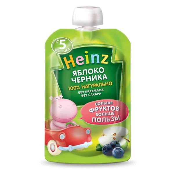 Пюре Heinz Пюре яблоко,черника с 5 мес., 90 гр (пауч) heinz нежная грушка пюре с 4 мес