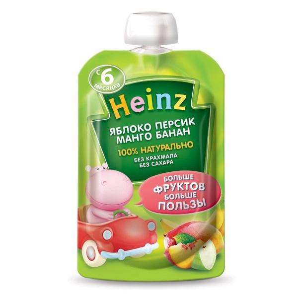 Пюре Heinz Пюре яблоко,персик,манго,банан с 6 мес., 100 г. (пауч)