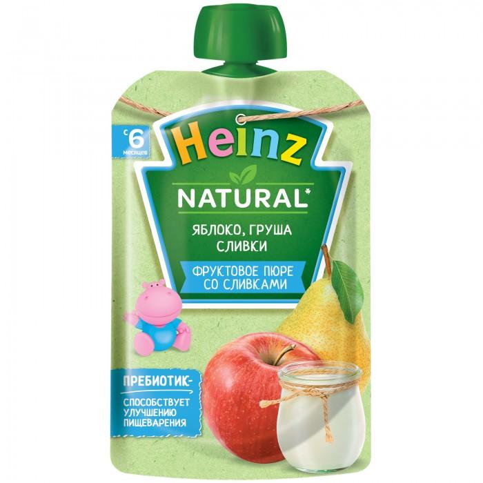 Пюре Heinz Пюре яблоко, груша, сливки с 6 мес., 90 гр. (пауч) восстановительный комплекс nutrend regener яблоко 450 г