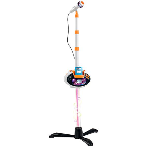 Музыкальная игрушка Simba Микрофон на стойкеМикрофон на стойкеМикрофон на стойке имеет съемный базу в виде DVD-проигрывателя, который имеет 4 демо-мелодии.   Демо-мелодии включаются последовательно с одной кнопки. Также есть кнопка с аплодисментами, кнопка громкости, кнопка выключения.   К проигрывателю можно подключить MP3-плеер и слушать и петь собственные песни.  Высота стойки регулируется и имеет максимальную длину 109 см.  Теперь можно петь караоке в свой микрофон, который, ко всему, еще и оснащен световыми эффектами, и регулируемой высотой стойки! Пусть Ваш ребенок почувствует себя настоящей звездой!<br>