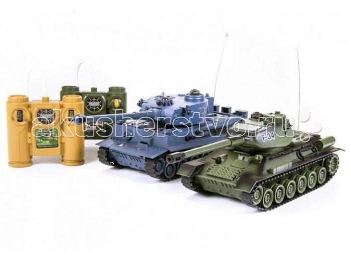 Pilotage Радиоуправляемый танковый бой 1:24 T34 vs TigerРадиоуправляемый танковый бой 1:24 T34 vs TigerPilotage Радиоуправляемый танковый бой 1:24 T34 vs Tiger  - это набор из двух танков в масштабе 1:24. Модели танков выполнены с высокой степенью копийности, оснащены инфракрасной пушкой, способной поразить противника на расстояние до восьми метров. При стрельбе имитируется звук выстрела и откат, создавая впечатление, как будто танк произвел выстрел настоящим снарядом. Попадание в танк противника сопровождается звуком глухого удара по броне. При первом попадании гаснет первая лампа индикатора, перестает работать гусеница с левой стороны. При втором попадании - гаснет вторая лампа индикатора, перестает работать гусеница  с правой стороны. При третьем попадании раздаётся звук взрыва, и танк перестаёт работать. Через 10 секунд работа танка восстанавливается.  Имитация торсионной подвески катков и цепкие гусеницы позволяют модели двигаться во все стороны, преодолевать неровности ландшафта и взбираться на подъемы, крутизной до 45 градусов. Скорость танка - 6 км/ч. Башня танка может вращаться на 320 градусов, радиус действия пульта управления до 12 метров. Для питания танков используются NiCd аккумуляторы  600мАч 4.8В, на которых они могут работать в течении 15-20 минут. Время зарядки приблизительно 4 часа. Скорость танка - 6 км/ч. Танки имеют демо режим и функция автоматического отключения.    Радиоуправляемый танковый бой — это увлекательная битва двух легендарных боевых машин под вашим контролем, и это может происходить прямо у вас в комнате или офисе, а не где то на мониторе компьютера!  В комплект входит: Два танка Два пульта управления Два аккумулятора 600мАч Два  АС зарядных устройства Инструкция<br>