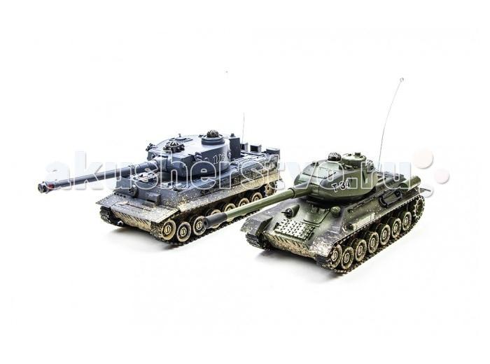 Pilotage Радиоуправляемый танковый бой 1:24 T34 vs Tiger color 2Радиоуправляемый танковый бой 1:24 T34 vs Tiger color 2Pilotage Радиоуправляемый танковый бой 1:24 T34 vs Tiger color 2  - это набор из двух танков в масштабе 1:24. Модели танков выполнены с высокой степенью копийности, оснащены инфракрасной пушкой, способной поразить противника на расстояние до восьми метров. При стрельбе имитируется звук выстрела и откат, создавая впечатление, как будто танк произвел выстрел настоящим снарядом. Попадание в танк противника сопровождается звуком глухого удара по броне. При первом попадании гаснет первая лампа индикатора, перестает работать гусеница с левой стороны. При втором попадании - гаснет вторая лампа индикатора, перестает работать гусеница  с правой стороны. При третьем попадании раздаётся звук взрыва, и танк перестаёт работать. Через 10 секунд работа танка восстанавливается.  Имитация торсионной подвески катков и цепкие гусеницы позволяют модели двигаться во все стороны, преодолевать неровности ландшафта и взбираться на подъемы, крутизной до 45 градусов. Скорость танка - 6 км/ч. Башня танка может вращаться на 320 градусов, радиус действия пульта управления до 12 метров. Для питания танков используются NiCd аккумуляторы  600мАч 4.8В, на которых они могут работать в течении 15-20 минут. Время зарядки приблизительно 4 часа. Скорость танка - 6 км/ч. Танки имеют демо режим и функция автоматического отключения.    Радиоуправляемый танковый бой — это увлекательная битва двух легендарных боевых машин под вашим контролем, и это может происходить прямо у вас в комнате или офисе, а не где то на мониторе компьютера!  В комплект входит: Два танка Два пульта управления Два аккумулятора 600мАч Два  АС зарядных устройства Инструкция<br>