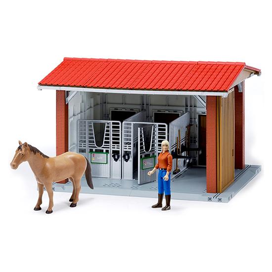 Bruder Конюшня с всадницей и лошадьюКонюшня с всадницей и лошадьюКонюшня Bruder с всадницей и лошадью     Особенности:    Модель 1:16.   В данном комплекте есть все необходимое для имитации процесса ухода за лошадью.   В руках фигурки всадницы могут быть закреплены грабли, вилы и другой инвентарь.   Здание оснащено двумя стойлами, местом для чистки лошади, открывающимися калитками, воротами, кормушками, поилками и другими функционирующими элементами.   Размер: 48х36х31 см    Все машинки, автомобили, спец. техника Брудер сертифицированы в соответствии с действующими правилами. Для их изготовления производитель использует только лучшие современные материалы, не токсичные, не содержащие аллергенов. Добротные комплектующие детали рассчитаны на высокие нагрузки. Такие замечательные игрушки даже после длительного использования сохраняют великолепный внешний вид и технические характеристики.<br>