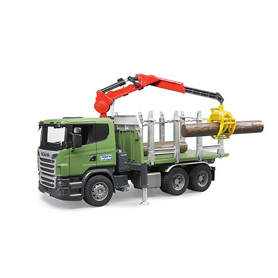 Машины Bruder Лесовоз Scania с портативным краном и брёвнами bruder лесовоз scania
