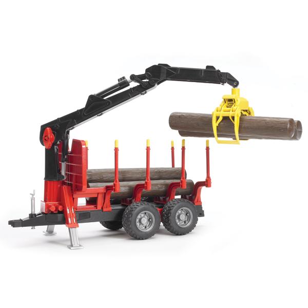 Машины Bruder Прицеп для перевозки леса с манипулятором и брёвнами машины bruder лесовоз scania с портативным краном и брёвнами
