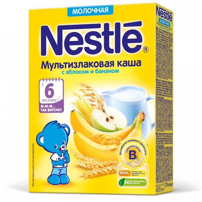 Каши Nestle Молочная мультизлаковая каша с яблоком и бананом с 6 мес. 220 г nestle смесь молочная nestle nan нан 2 400 г с 6 12 мес