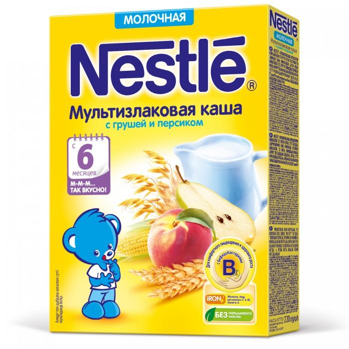 Каши Nestle Молочная мультизлаковая каша с грушей и персиком с 6 мес. 220 г nestle смесь молочная nestle nan нан 2 400 г с 6 12 мес