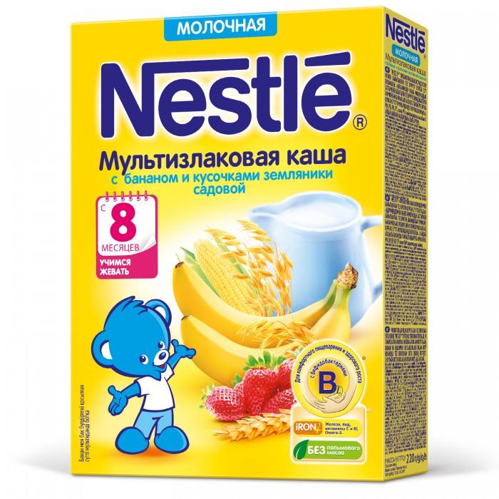Каши Nestle Молочная мультизлаковая каша с бананом и кусочками земляники с 8 мес. 220 г каши nestle молочная мультизлаковая каша с мёдом и кусочками абрикоса с 9 мес 220 г