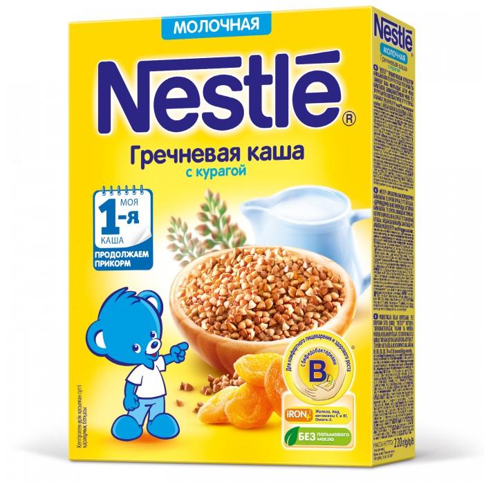 Каши Nestle Молочная гречневая каша с курагой Моя первая каша 220 г каши nestle молочная мультизлаковая каша с мёдом и кусочками абрикоса с 9 мес 220 г