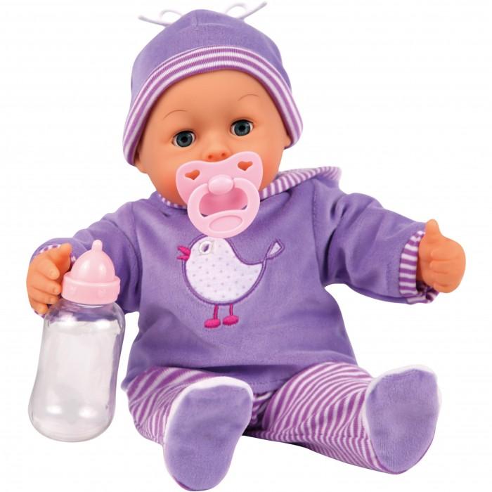 Bayer Малыш - мои первые слова 38 см 9381700Малыш - мои первые слова 38 см 9381700Bayer Design Малыш - мои первые слова 38 см 9381700   Интерактивная кукла 38 см, 24 функции (звука), глаза открываются-закрываются.   Если нажать на животик куклы, она смеется или плачет, говорит Мама или Папа, а также издает разные звуки младенца.   Соска и бутылочка входят в комплект.   У куклы мягкое тело, и она одета в современный комбинезон с подходящей по цвету шапочкой.   Упаковка: коробка.   Батарейки входят в комплект.<br>