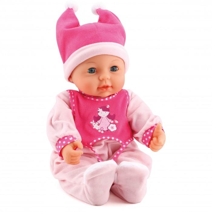 Bayer Малышка Первый поцелуй 42 смМалышка Первый поцелуй 42 смBayer Design Малышка Первый поцелуй 42 см   Кукла Первый поцелуй 42 см.   Интерактивная кукла с 18 функциями и закрывающимися-открывающимися глазами.   Она подарит вам поцелуй, когда вы дотрагиваетесь своей щекой до ее ротика.   Если Вы нажимаете на ее ручки, ножки или животик, она будет издавать различные детские звуки.   Будет смеяться, когда вы бросаете ее в воздух и ловите.   В комплект входят сумка, полотенце, соска и бутылка.   Упаковка: коробка.   Батарейки в комплекте.<br>