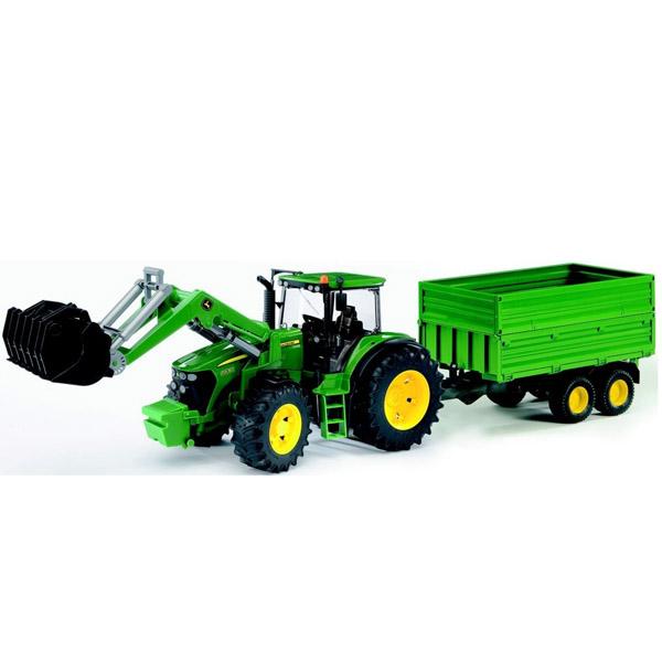 Машины Bruder Трактор John Deere 7930 с погрузчиком и прицепом bruder трактор john deere 7930 с двойными колесами