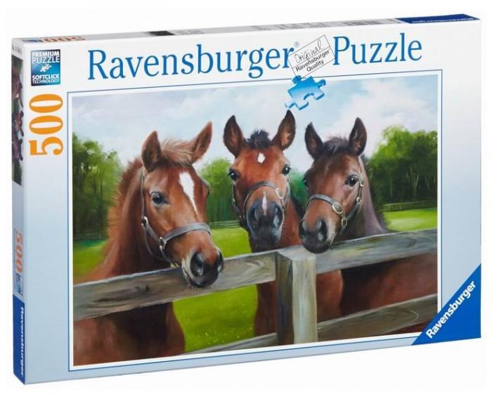 Пазлы Ravensburger Пазл Три лошади 500 элементов пазлы origami пазл дм зайчик и волчонок 25 элементов
