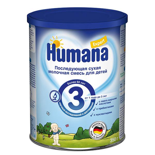 Молочные смеси Humana Заменитель Expert 3 от 1 года до 3-х лет 350 г молочные смеси humana заменитель expert 1 с рождения 350 г