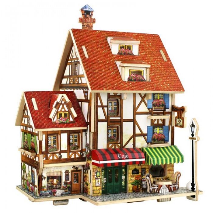 Пазлы Robotime Деревянные 3D пазлы Французское кафе 35 деталей пазлы crystal puzzle 3d головоломка вулкан 40 деталей