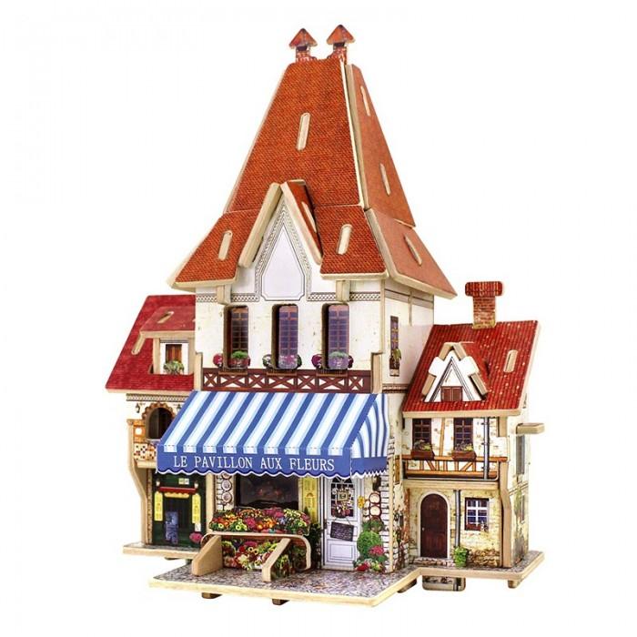 конструкторы robotime часы конструктор деревянные ослик раскраска Пазлы Robotime Деревянные 3D пазлы Французский цветочный магазин 44 детали