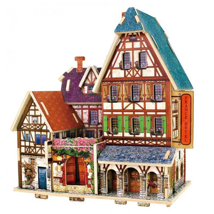 Пазлы Robotime Деревянные 3D пазлы Французский отель 33 детали пазлы бомик пазлы книжка репка