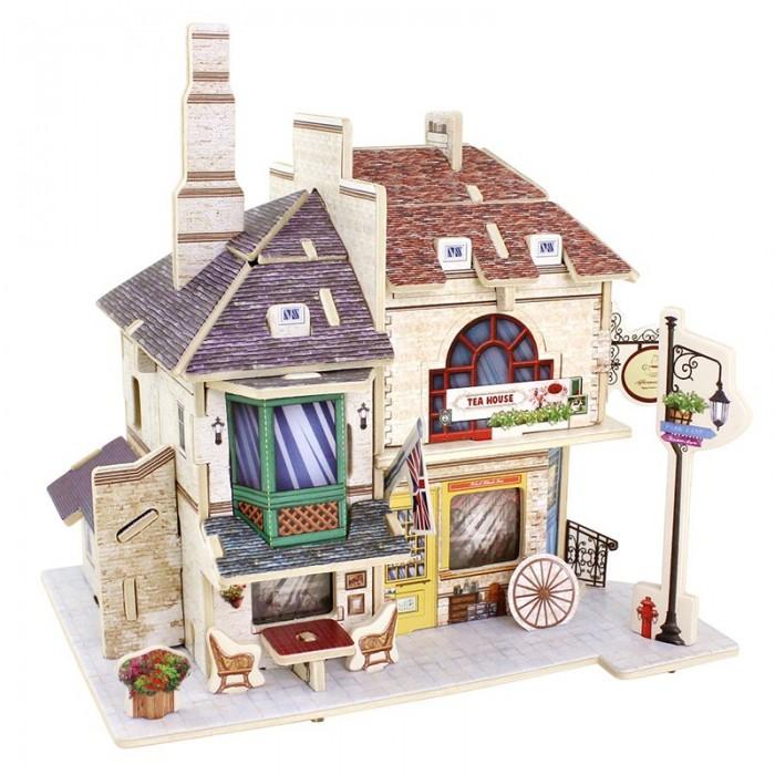 конструкторы robotime часы конструктор деревянные пингвин раскраска Пазлы Robotime Деревянные 3D пазлы Британский чайный дом 46 деталей