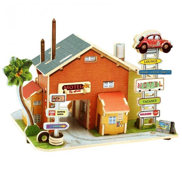 Пазлы Robotime Деревянные 3D пазлы Американская авто гостиница 52 детали muwanzi 3d пазлы пазлы деревянные игрушки динозавр летательный аппарат знаменитое здание архитектура 3d своими руками дерево классика