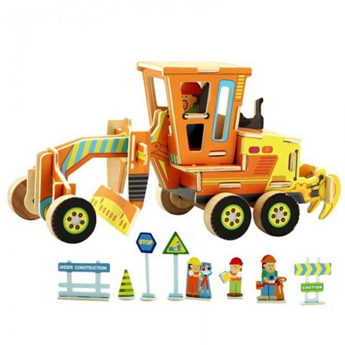 конструкторы robotime часы конструктор деревянные трактор раскраска Пазлы Robotime Деревянные 3D пазлы Грейдер 48 деталей