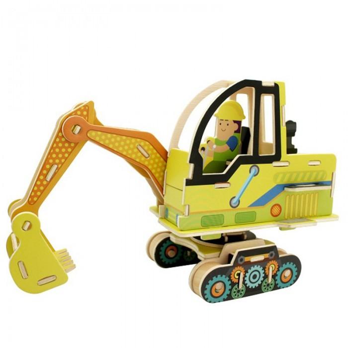 конструкторы robotime часы конструктор деревянные пингвин раскраска Пазлы Robotime Деревянные 3D пазлы Экскаватор 60 деталей