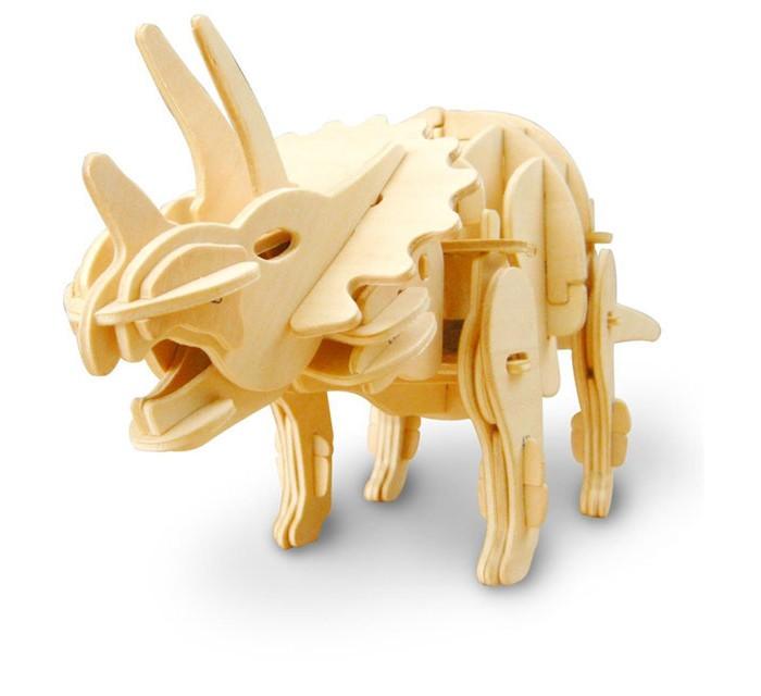 Пазлы Robotime Деревянные 3D пазлы Трицераптос кусающийся управление звуком 82 детали пазлы бомик пазлы книжка репка