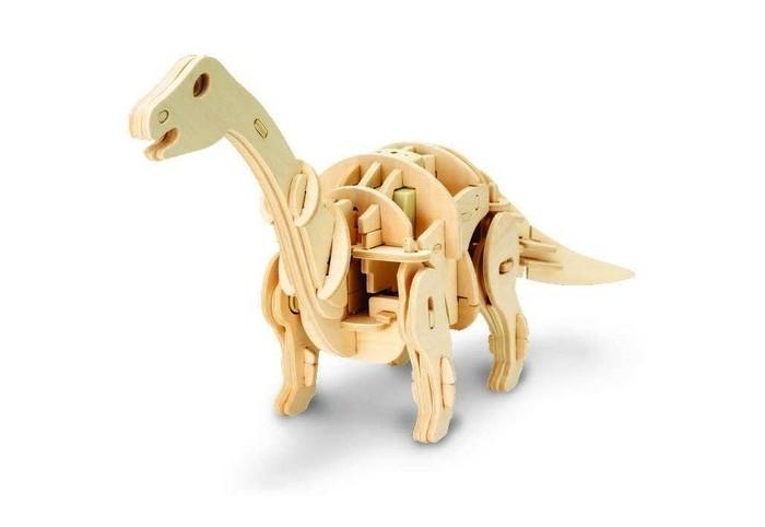конструкторы robotime часы конструктор деревянные пингвин раскраска Пазлы Robotime Деревянные 3D пазлы Мини Апатозавр ходящий управление звуком 72 детали