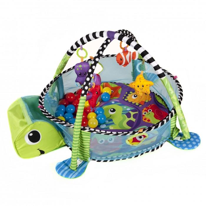 Развивающий коврик FunKids Turtle GymTurtle GymРазвивающий коврик Funkids Turtle Gym для самых маленьких.  На коврике Turtle Gym ваш малыш откроет для себя мир, полный новых тактильных ощущений, сочных красок, ярких образов и звуков! Можно лежать на спине, ползать на животе, сидеть как в манеже и развиваться в компании веселых друзей.  Разноцветные шарики хранятся в специально предназначенном контейнере в виде головы черепашки  Две игровых дуги с 4 мягкими съемными игрушками; 30 разноцветных пластмассовых безопасных шариков; Сетка-манеж с двумя небольшими отверстиями для игры с шариками Размеры коврика Turtle Gym в разложенном состоянии: Диаметр - 65 см Высота игровой дуги - 55 см Высота бортика-сетки 25 см<br>
