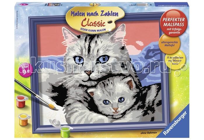 Ravensburger по номерам Кошка с котенкомпо номерам Кошка с котенкомИспользуя раскраски по номерам, каждый желающий может почувствовать себя настоящим художником. Это является также прекрасным, удобным и практичным методом для самообучения. Каждый хороший художник умеет «чувствовать» цвет, правильно соединять краски для того, чтоб получить нужный оттенок. Начинающие не так хорошо разбираются в подобных тонкостях, поэтому раскраска по номерам на холсте дает шикарные возможности для обучения и получения важного опыта.  Набор для раскраски включает в себя всё самое необходимое: холст требуемой величины с готовым контуром, акриловые краски нужных оттенков, кисточку и контрольный лист. Контур рисунка уже заранее помечен, какой элемент необходимо раскрасить и каким именно цветом. Поэтому владельцу подобной раскраски не придется требовать от себя невозможного. Контрольный лист позволит получить в итоге именно такой рисунок, который был задуман автором.  В набор входят: фактурная картонная основа с пронумерованными контурами акриловые краски кисть контрольный лист подставка для красок в форме палитры рамка  Размер готовой работы: 24 х 30 см.<br>