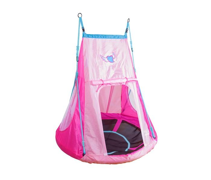 Качели Hudora Гнездо с палаткой 110 СердечкоГнездо с палаткой 110 СердечкоHudora Качели гнездо с палаткой 110 Сердечко дети могут качаться, играть и спать, как душе угодно.   Комплект состоит из качелей и палатки, каждый предмет можно использовать отдельно от другого.   Палатка имеет 2 закрывающихся входа, окно с москитной сеткой и внутренние карманы для хранения мелочей. Расположение качелей регулируется по высоте, от 140 до 190 см до перекладины. Палатка изготовлена из полиэстера 210D, ее высота 123 см.   Качели выдерживают нагрузку до 100 кг.<br>